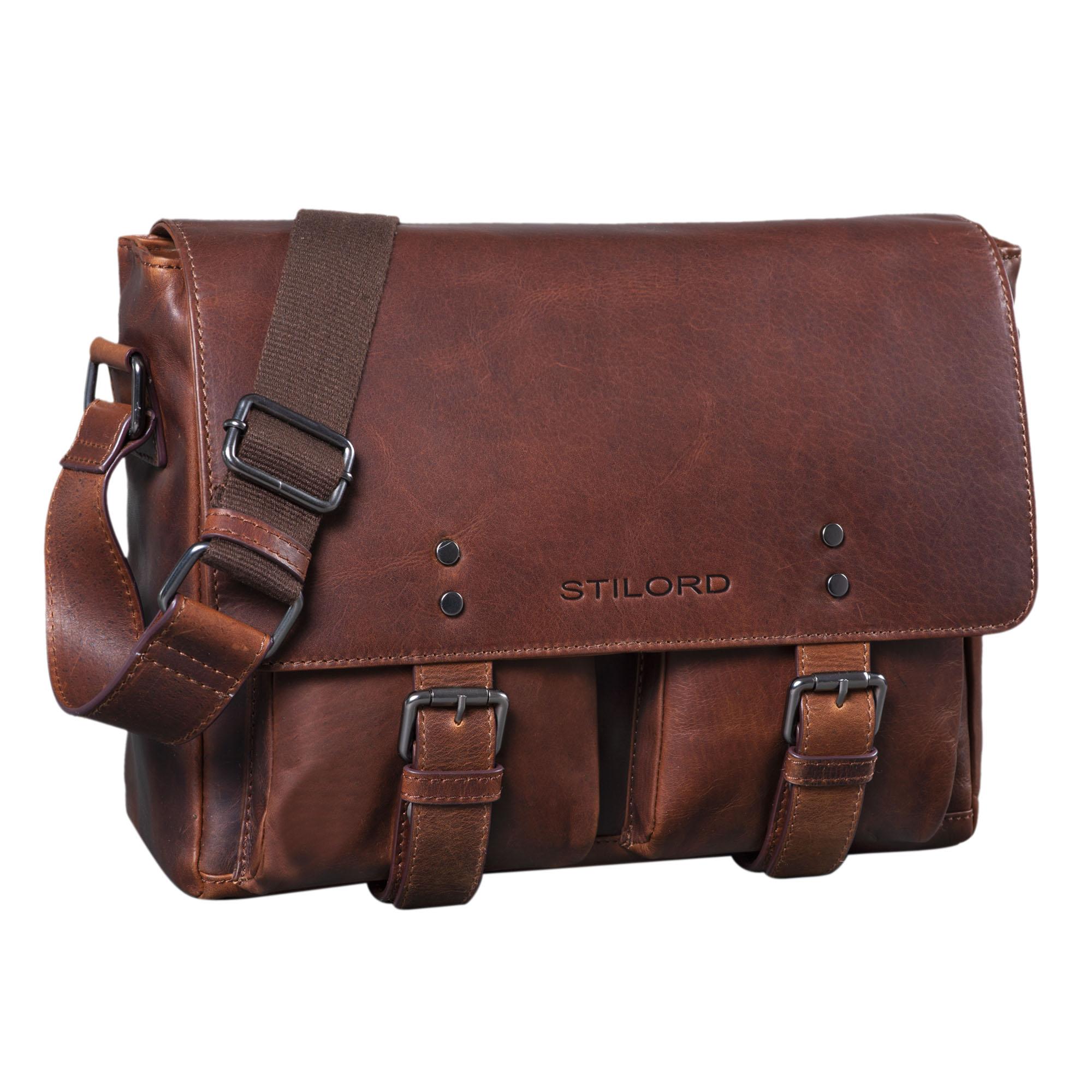 """STILORD """"Hunter"""" Leder Aktentasche 13 Zoll Laptoptasche Vintage Umhängetasche für Herren Damen Businesstasche aus Echtem Leder - Bild 8"""