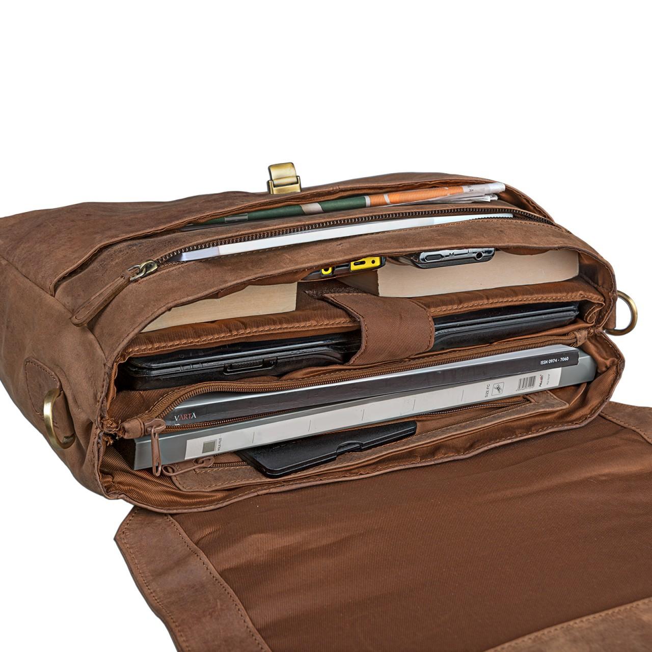 STILORD Umhängetasche 15,6 Zoll Laptoptasche Schultertasche Unitasche Bürotasche Arbeit Lehrer MacBooks Notebooktasche Leder Cognac braun - Bild 3