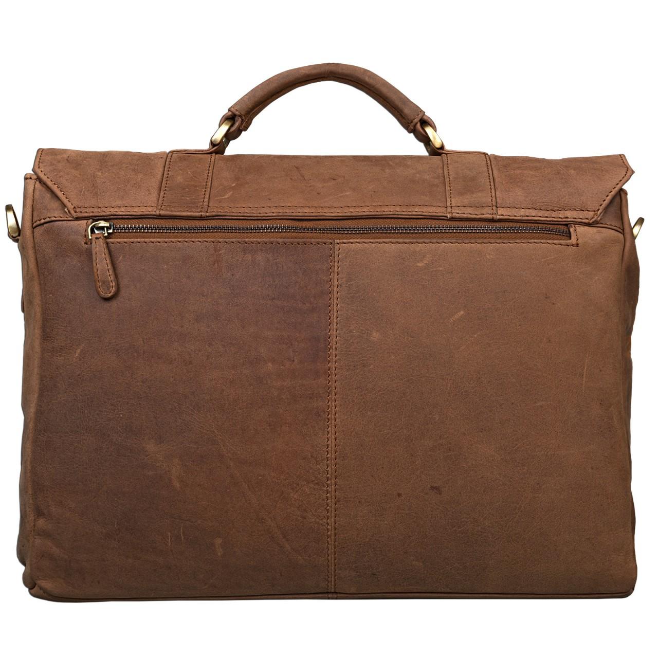 STILORD Umhängetasche 15,6 Zoll Laptoptasche Schultertasche Unitasche Bürotasche Arbeit Lehrer MacBooks Notebooktasche Leder Cognac braun - Bild 5