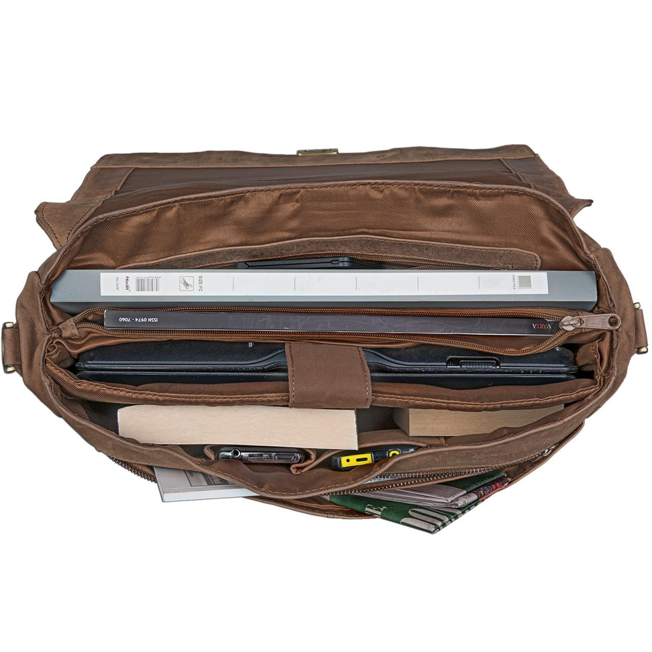 STILORD Umhängetasche 15,6 Zoll Laptoptasche Schultertasche Unitasche Bürotasche Arbeit Lehrer MacBooks Notebooktasche Leder Cognac braun - Bild 6