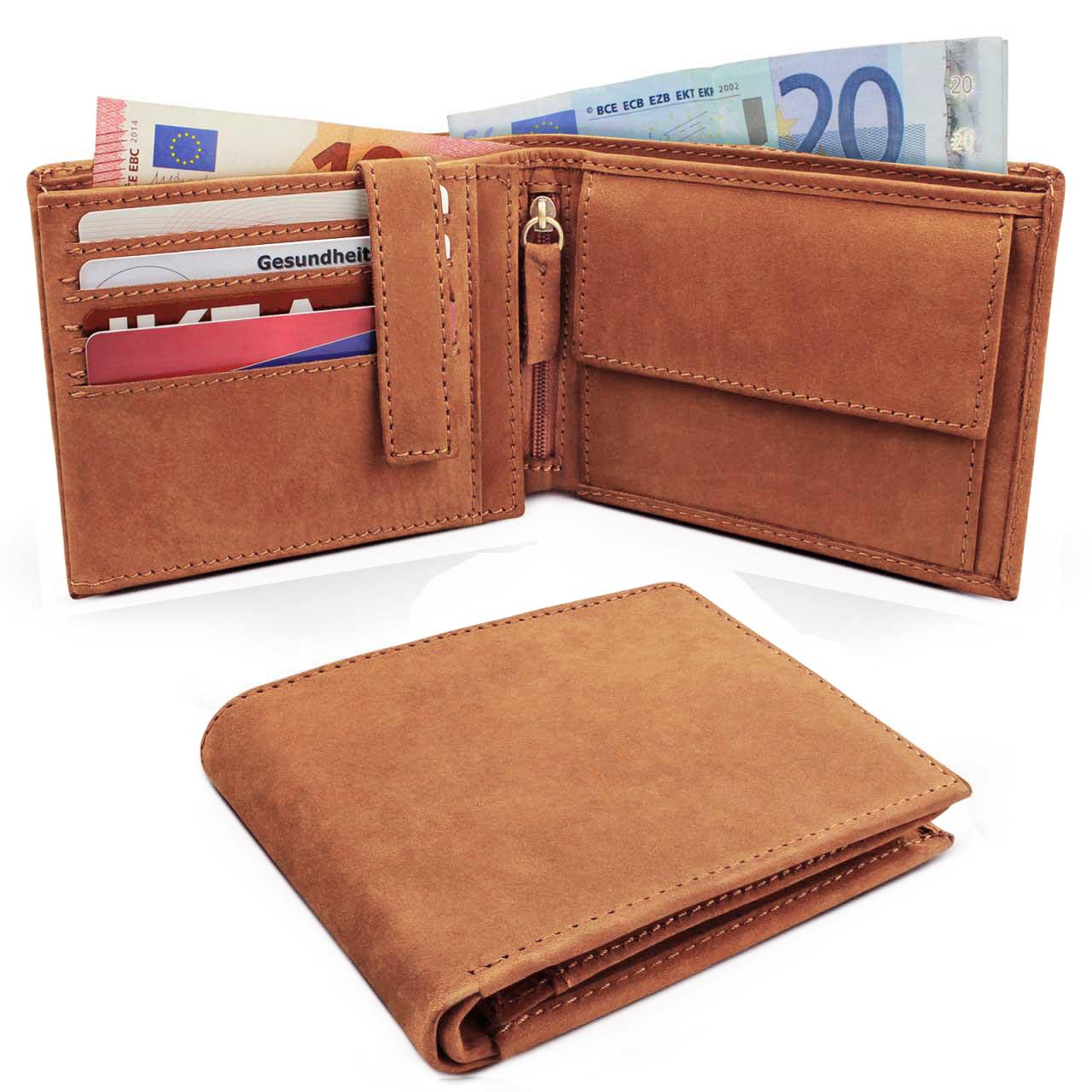 Portemonnaie-Leder-braun