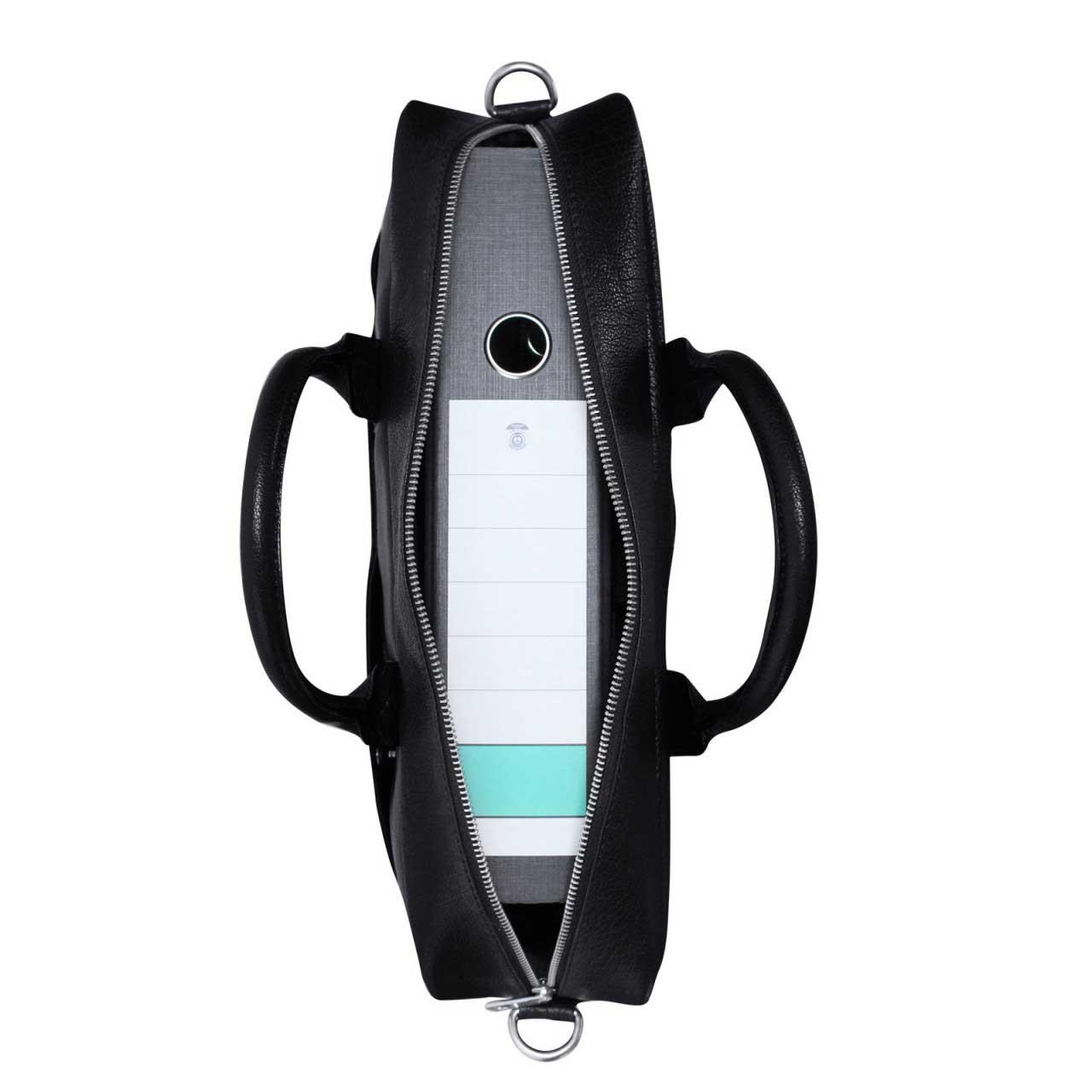 STILORD Umhängetasche Messenger Bag für Akten Ordner Groß 17.3 Zoll Laptop Tablet Tasche aus Leder schwarz  - Bild 6