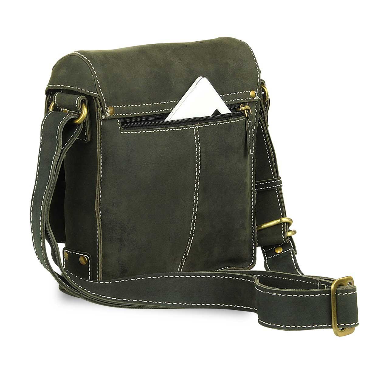 a8cb5b80a3e81 Kleine Umhängetasche Tablet-Tasche Messenger Bag Leder Oliv-Grün