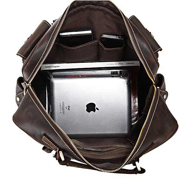 STILORD Umhängetasche  / College Tasche / Schultertasche / 15.6 Zoll Laptop / Unitasche / Messenger Bag echtes Leder Unisex Vintage Kaffee-Braun - Bild 6