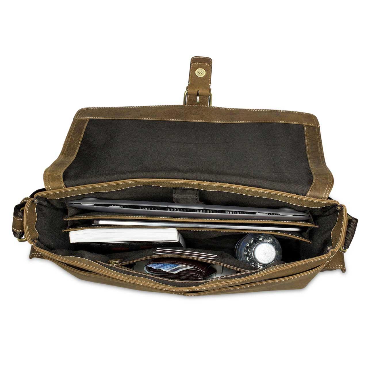 STILORD Ledertasche Umhängetasche 15.6 Zoll Laptoptasche aus echtem Büffel-Leder braun  - Bild 5