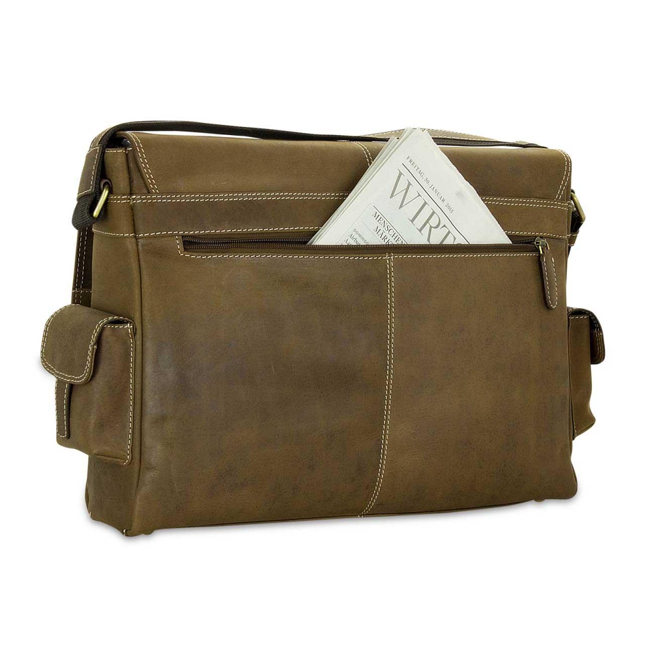 STILORD Ledertasche Umhängetasche 15.6 Zoll Laptoptasche aus echtem Büffel-Leder braun  - Bild 8