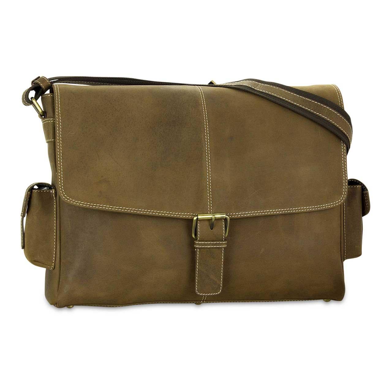 STILORD Ledertasche Umhängetasche 15.6 Zoll Laptoptasche aus echtem Büffel-Leder braun  - Bild 2