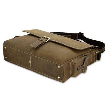 STILORD Ledertasche Umhängetasche 15.6 Zoll Laptoptasche aus echtem Büffel-Leder braun  – Bild 4