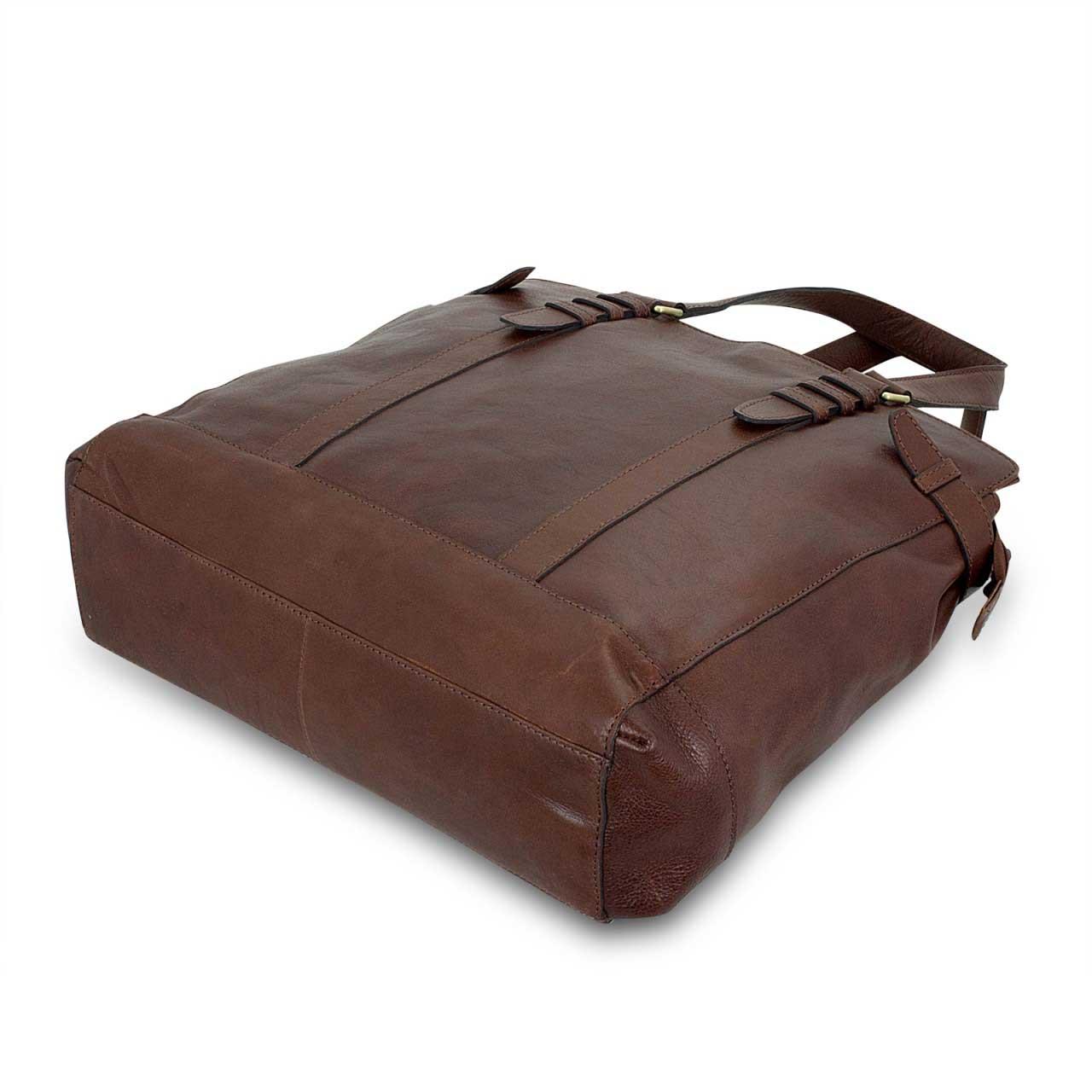 STILORD Große Damenhandtasche Leder 34 x 35 x 9 cm dunkelbraun - Bild 3