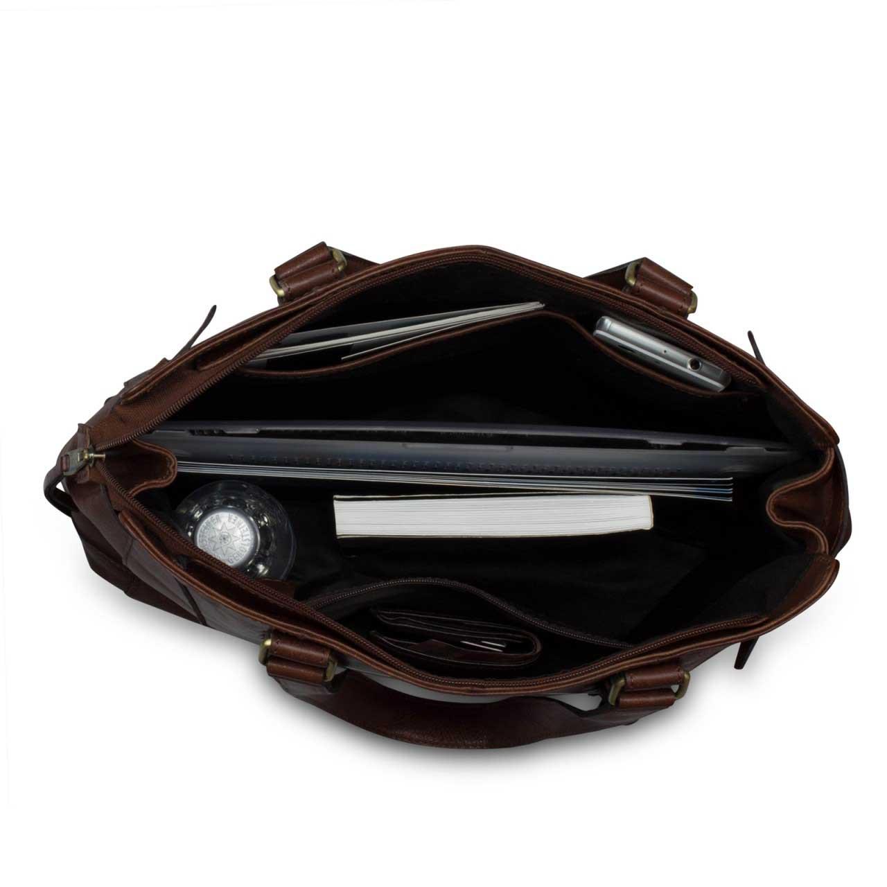 STILORD Große Damenhandtasche Leder 34 x 35 x 9 cm dunkelbraun - Bild 5