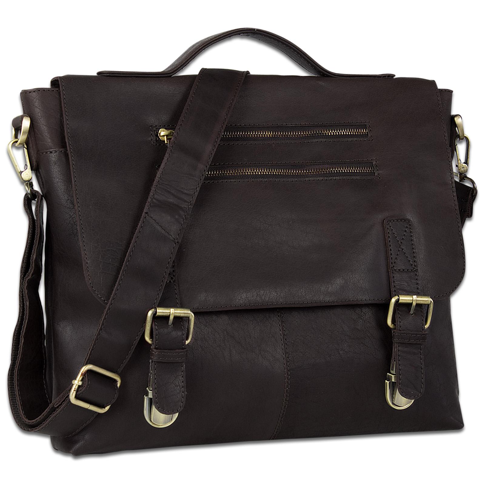 STILORD elegante Aktentasche / Business Tasche / Handtasche Schultertasche Bürotasche Arbeitstasche Vintage Echtleder Braun - Bild 1