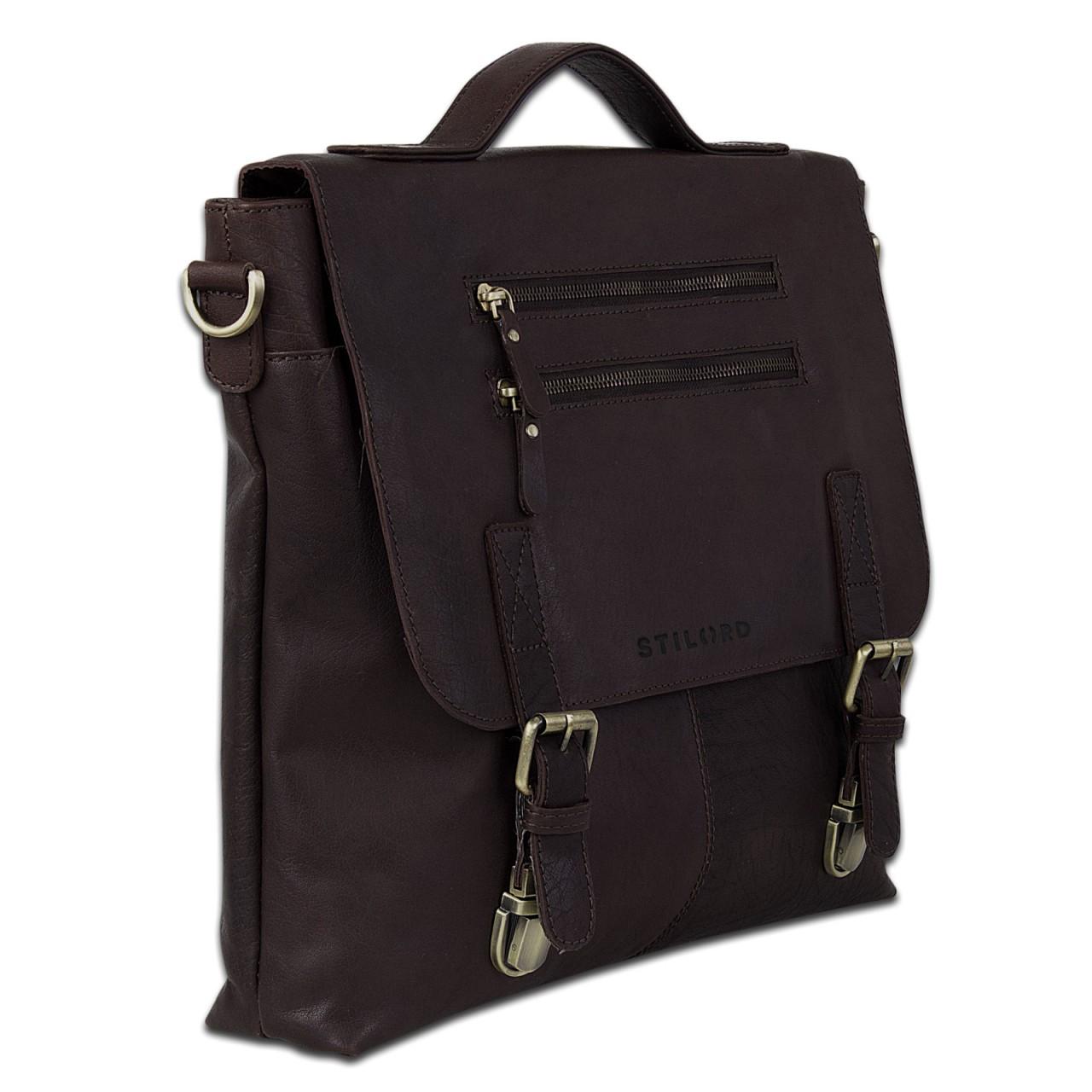 STILORD elegante Aktentasche / Business Tasche / Handtasche Schultertasche Bürotasche Arbeitstasche Vintage Echtleder Braun - Bild 3