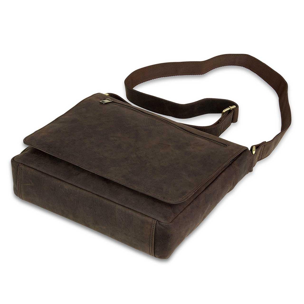 STILORD Leder Messenger Bag kompakt Vintage Schulter Umhängetasche 12.2 Zoll Tablets MacBook Tasche echtes Leder dunkelbraun - Bild 4