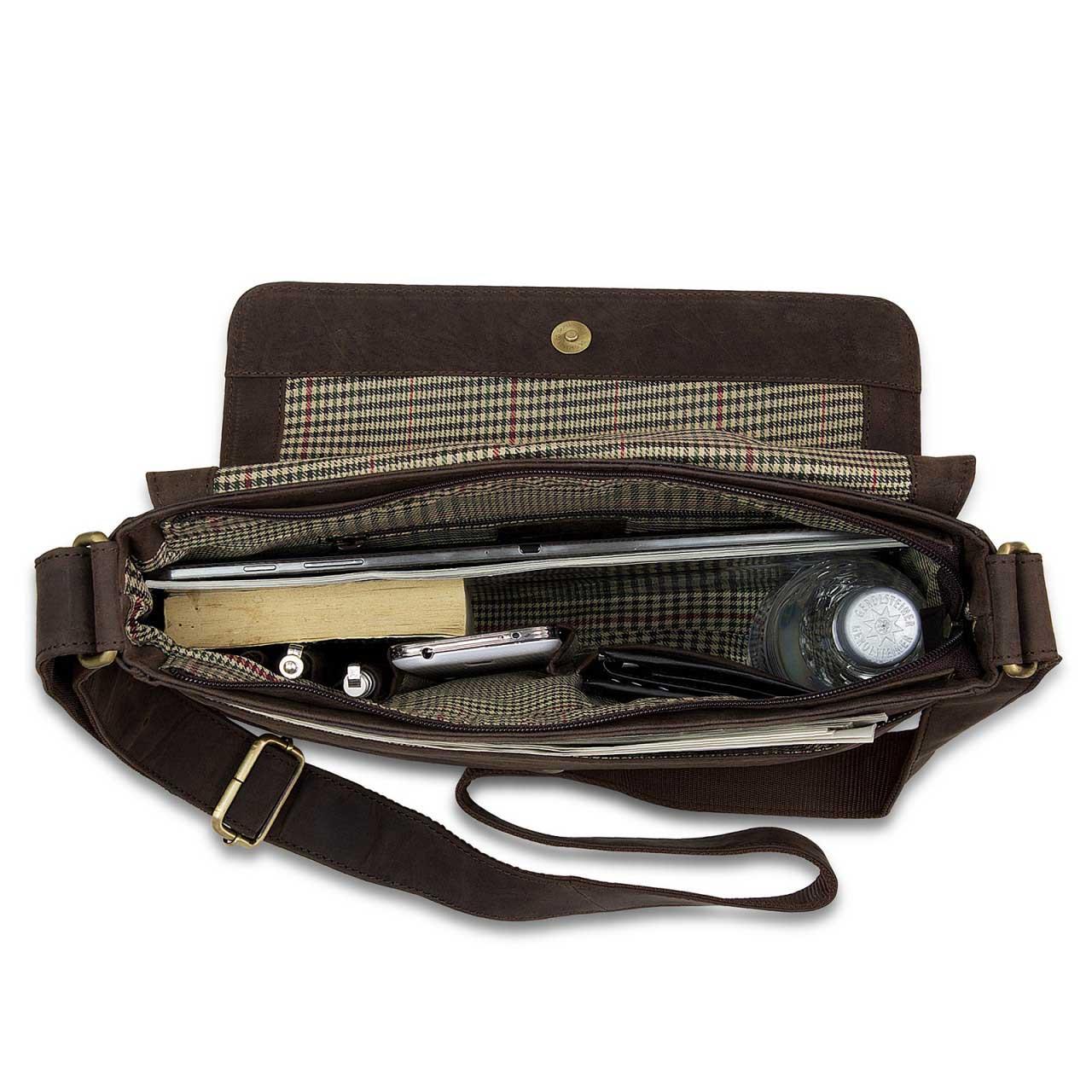 STILORD Leder Messenger Bag kompakt Vintage Schulter Umhängetasche 12.2 Zoll Tablets MacBook Tasche echtes Leder dunkelbraun - Bild 6