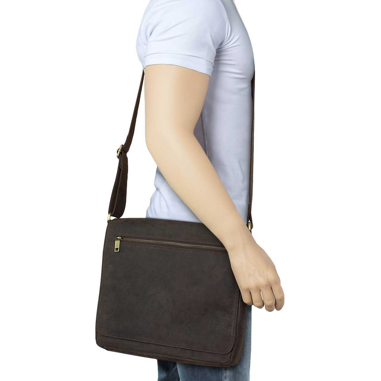 STILORD Leder Messenger Bag kompakt Vintage Schulter Umhängetasche 12.2 Zoll Tablets MacBook Tasche echtes Leder dunkelbraun - Bild 7