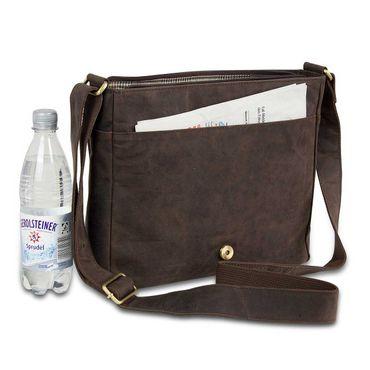 STILORD Leder Messenger Bag kompakt Vintage Schulter Umhängetasche 12.2 Zoll Tablets MacBook Tasche echtes Leder dunkelbraun – Bild 3