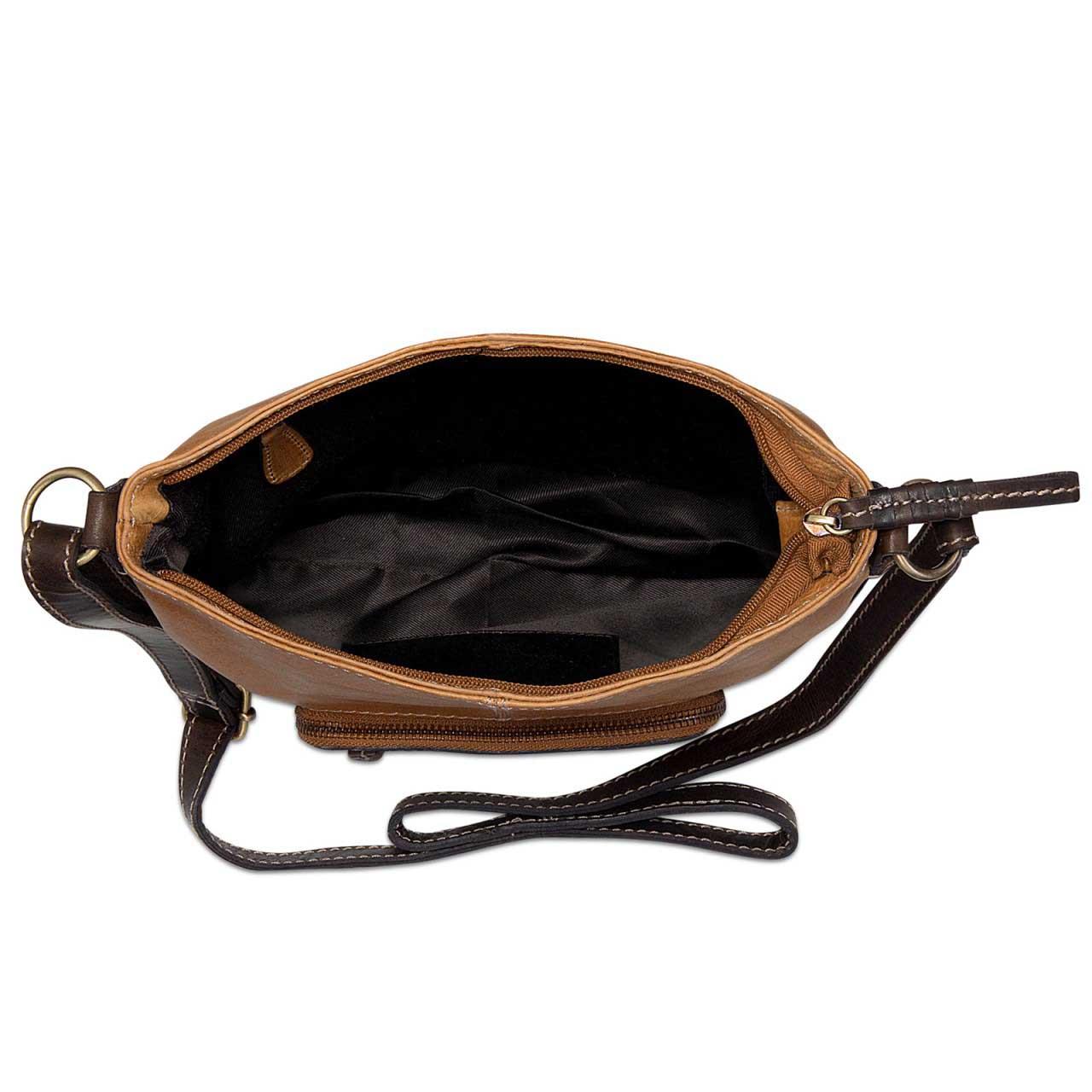 STILORD Damen Umhängetasche Leder klein Handtasche Schultertasche mit Schulterriemen echtes Büffelleder Damen hellbraun  - Bild 3