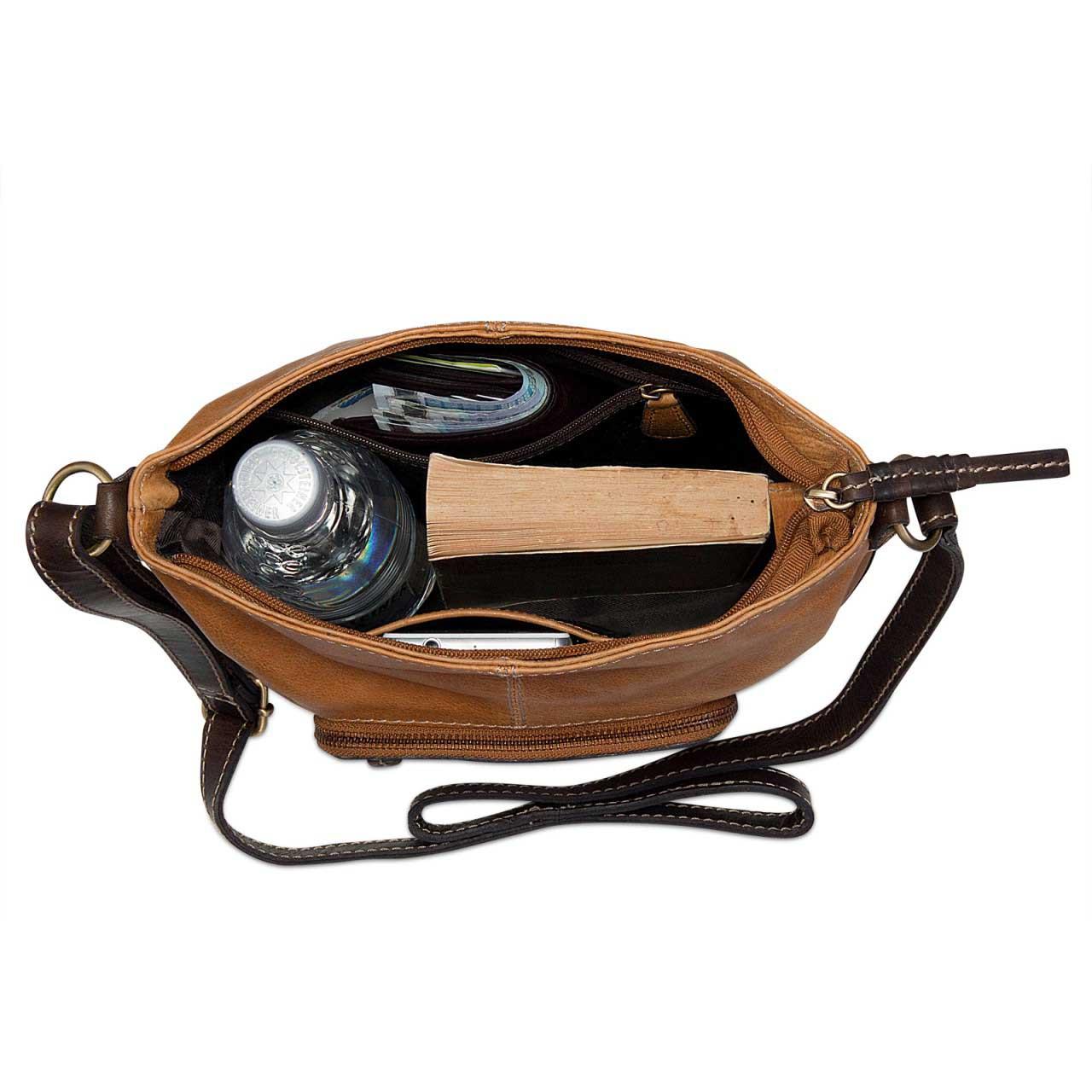 STILORD Damen Umhängetasche Leder klein Handtasche Schultertasche mit Schulterriemen echtes Büffelleder Damen hellbraun  - Bild 4