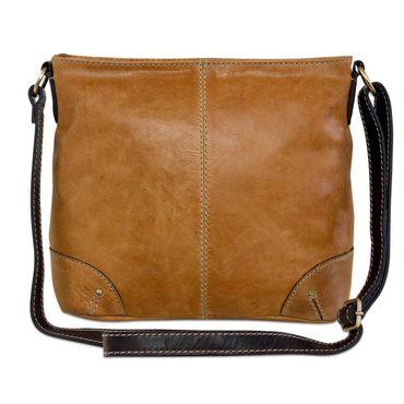 STILORD Damen Umhängetasche Leder klein Handtasche Schultertasche mit Schulterriemen echtes Büffelleder Damen hellbraun  – Bild 6