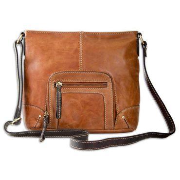STILORD kleine Vintage Damen Umhängetasche aus Leder Handtasche Schultertasche mit Schulterriemen Büffelleder braun