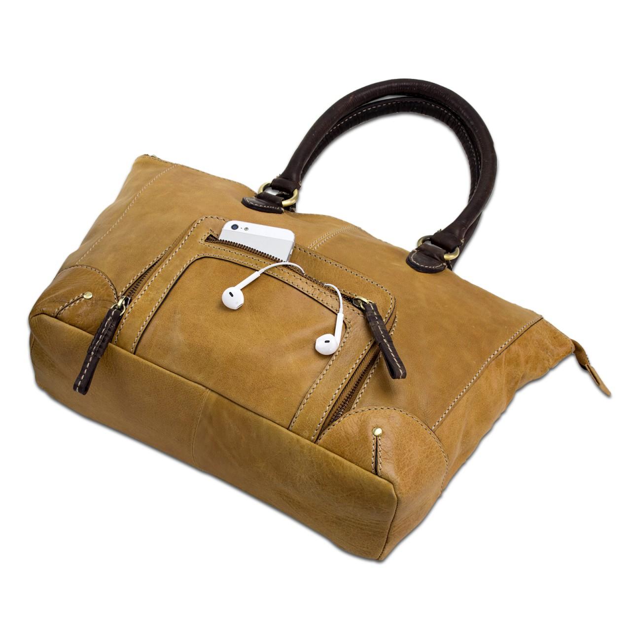 STILORD große Handtasche für Damen Abendtasche Ausgehen Henkeltasche Retro Vintage Ledertasche echtes Büffel Leder braun - Bild 6