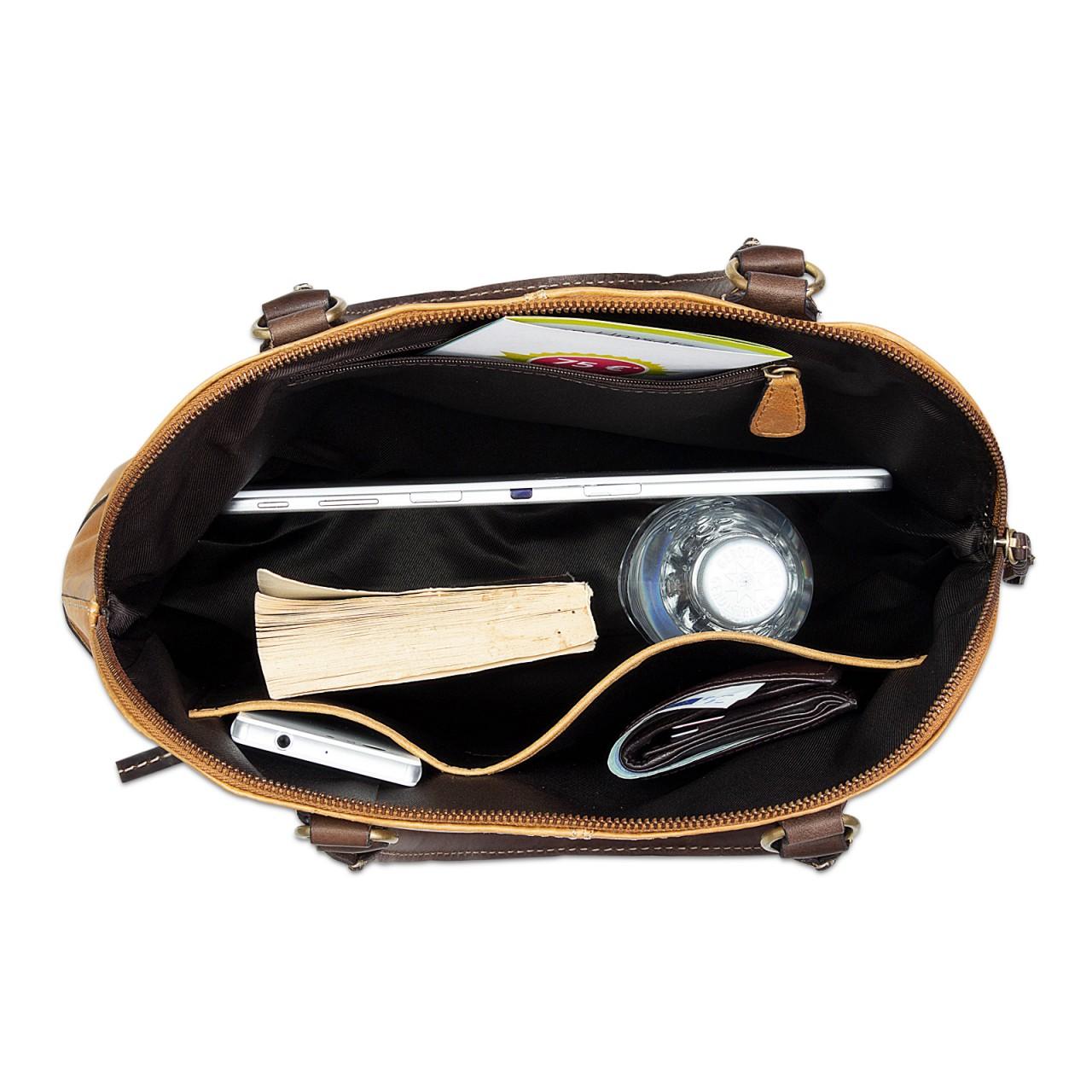 STILORD Vintage Handtasche groß Henkeltasche elegante Abendtasche für Damen - echtes Büffel Leder braun - Bild 6