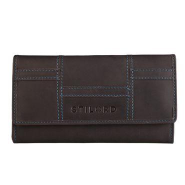 STILORD Damen Portemonnaie Leder Geldbeutel Ledergeldbörse Kellnerbörse Etui Wallet Quer mit Druckknopf Kartenfach Büffel-Leder braun