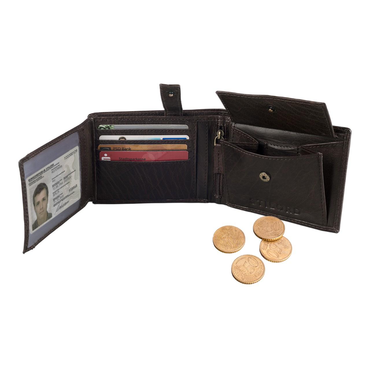 STILORD Portemonnaie Herren aus Leder Geldbörse Portmonee Brieftasche Geldbeutel Geldtasche Kartenfach Leder braun - Bild 2