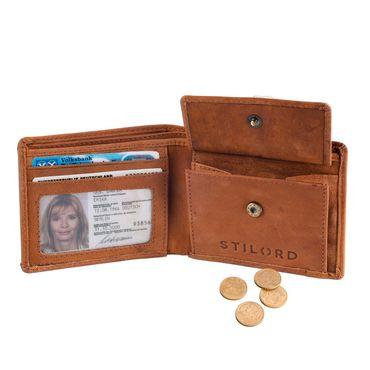 STILORD Leder Portemonnaie klein kompakt Geldbörse Brieftasche Geldbeutel EC-Karten Unisex Leder Orange – Bild 5
