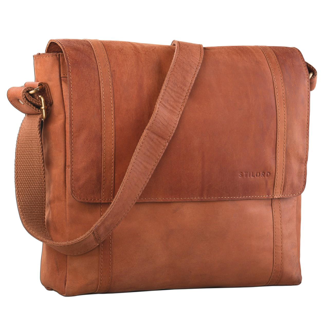 STILORD Schultertasche Ledertasche Umhängetasche Messenger Bag MacBook Laptop 14 Zoll A4 Akten Uni Freizeit Arbeit Leder orange braun - Bild 1