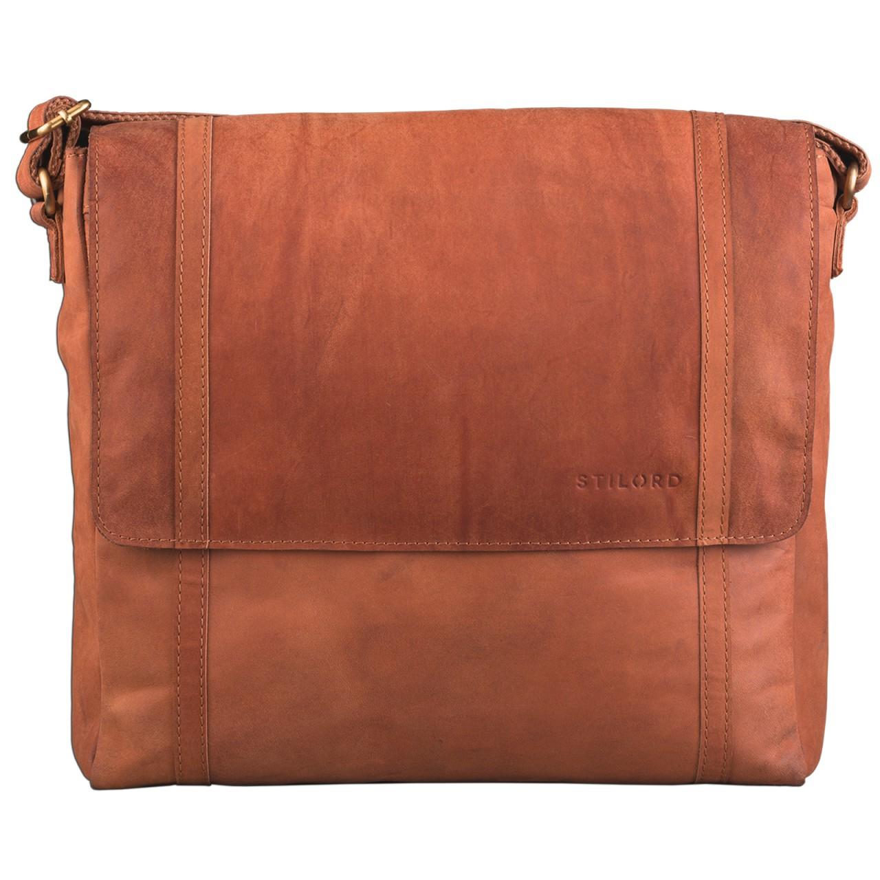 STILORD Schultertasche Ledertasche Umhängetasche Messenger Bag MacBook Laptop 14 Zoll A4 Akten Uni Freizeit Arbeit Leder orange braun - Bild 3