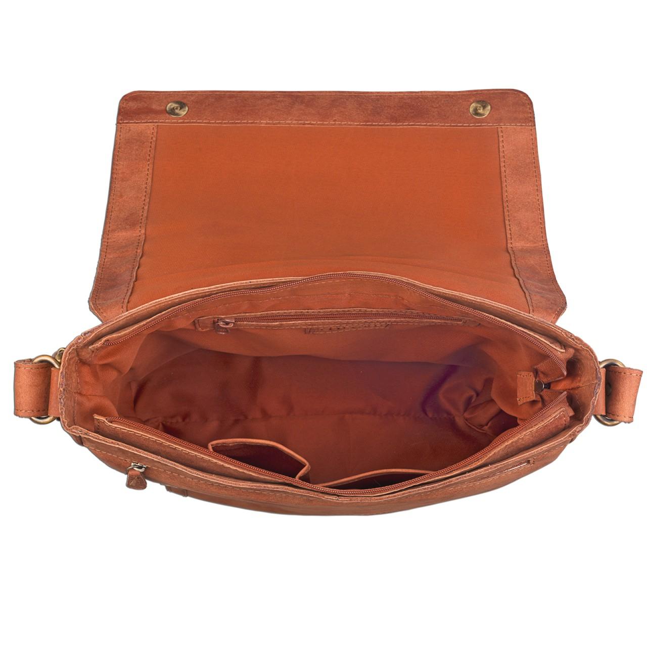 STILORD Schultertasche Ledertasche Umhängetasche Messenger Bag MacBook Laptop 14 Zoll A4 Akten Uni Freizeit Arbeit Leder orange braun - Bild 5