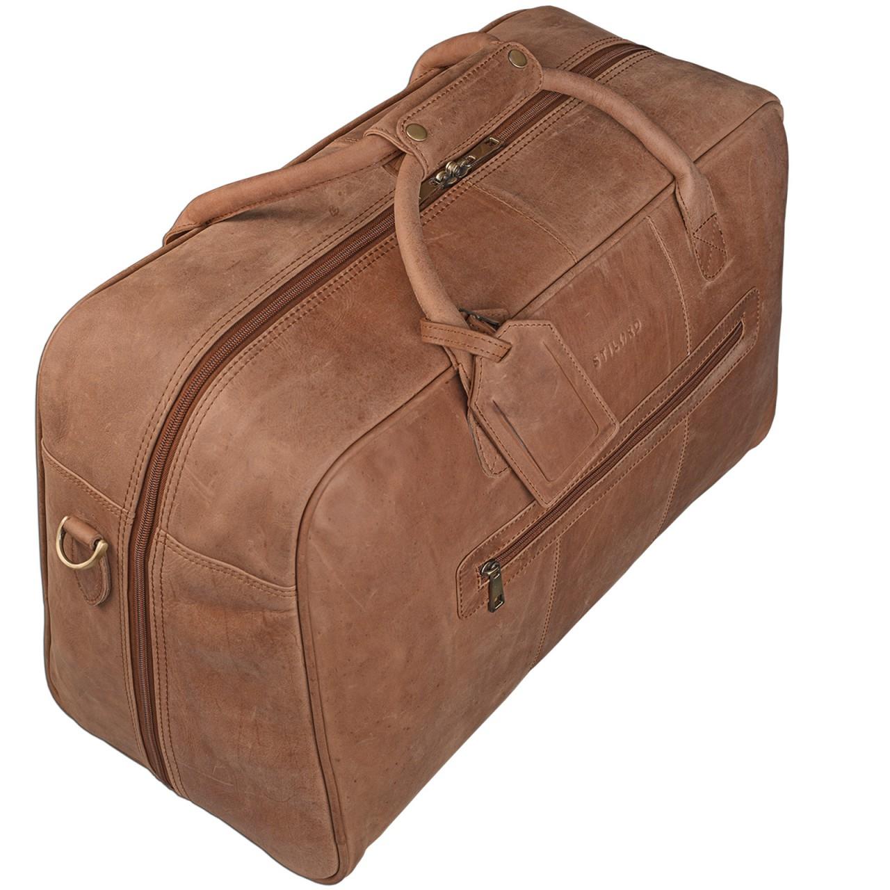 STILORD Vintage Reisetasche XXL groß Leder Weekend Bag Urlaub Retro Sporttasche Ledertasche mit 10.1 Zoll Tabletfach aus echtem Büffel-Leder braun - Bild 2