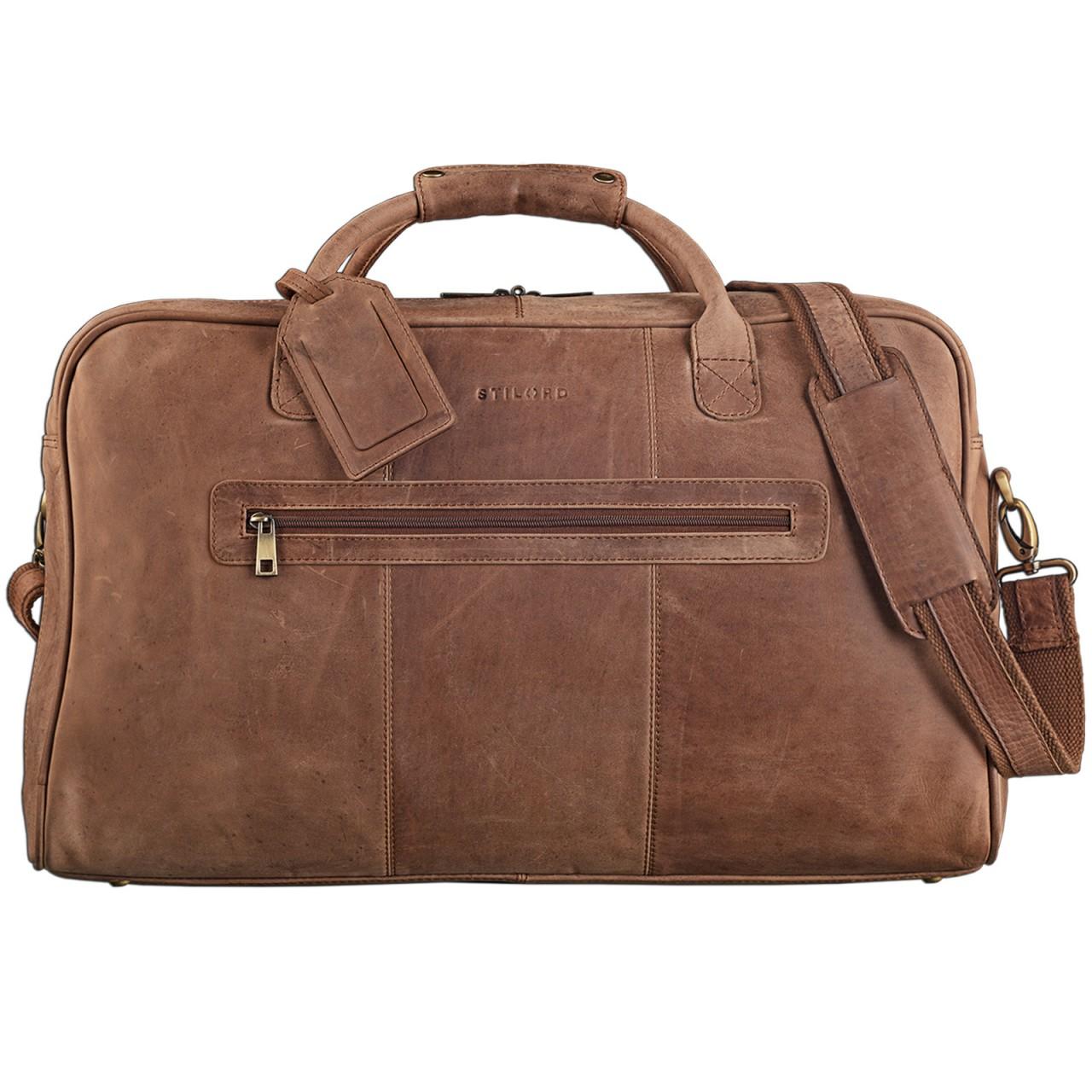 STILORD Vintage Reisetasche XXL groß Leder Weekend Bag Urlaub Retro Sporttasche Ledertasche mit 10.1 Zoll Tabletfach aus echtem Büffel-Leder braun - Bild 1