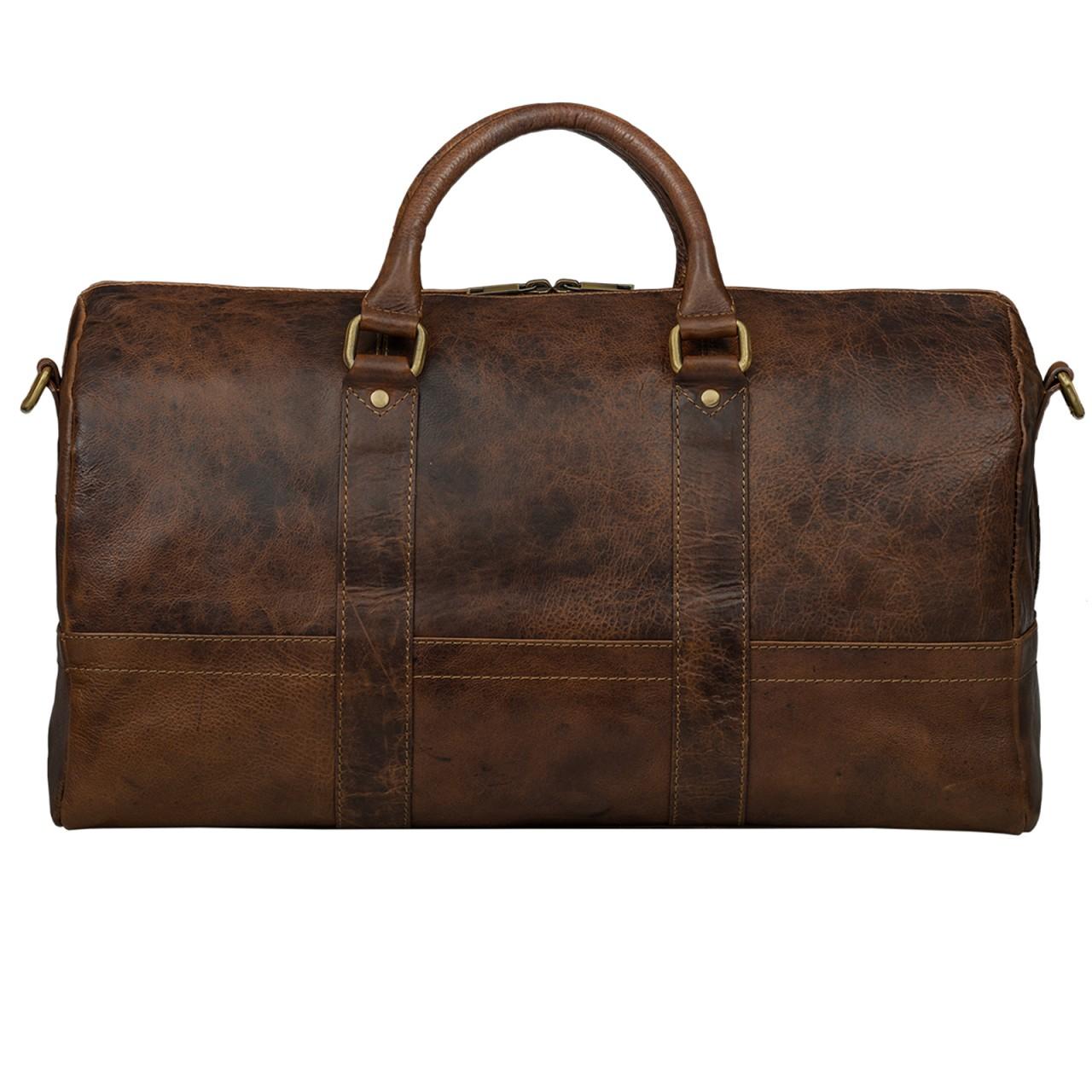 STILORD Leder Vintage Reisetasche Weekend Bag Urlaub Ledertasche Handgepäck Sporttasche Retro Weekender echtes Leder dunkelbraun - Bild 2