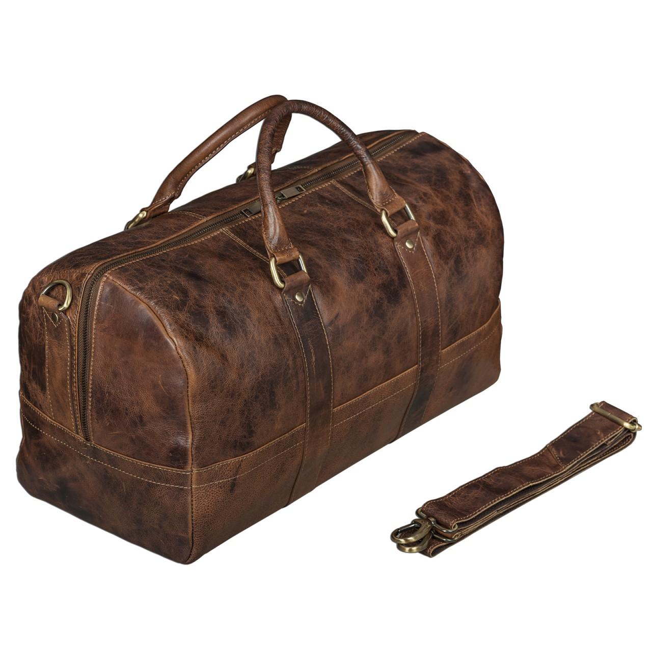 STILORD Leder Vintage Reisetasche Weekend Bag Urlaub Ledertasche Handgepäck Sporttasche Retro Weekender echtes Leder dunkelbraun - Bild 1