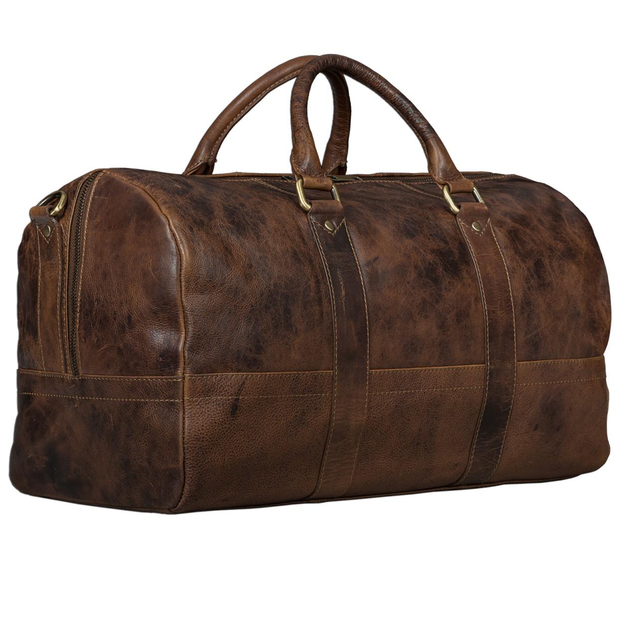 STILORD Leder Vintage Reisetasche Weekend Bag Urlaub Ledertasche Handgepäck Sporttasche Retro Weekender echtes Leder dunkelbraun - Bild 7