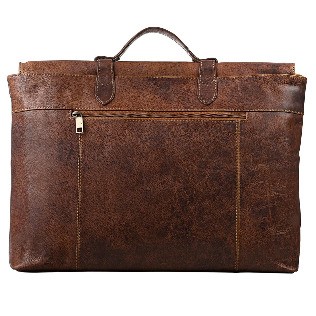 STILORD Vintage Businesstasche aus echtem Leder elegante Arbeitstasche Aktentasche Lehrertasche mit Schloss Rinds Leder Braun - Bild 3