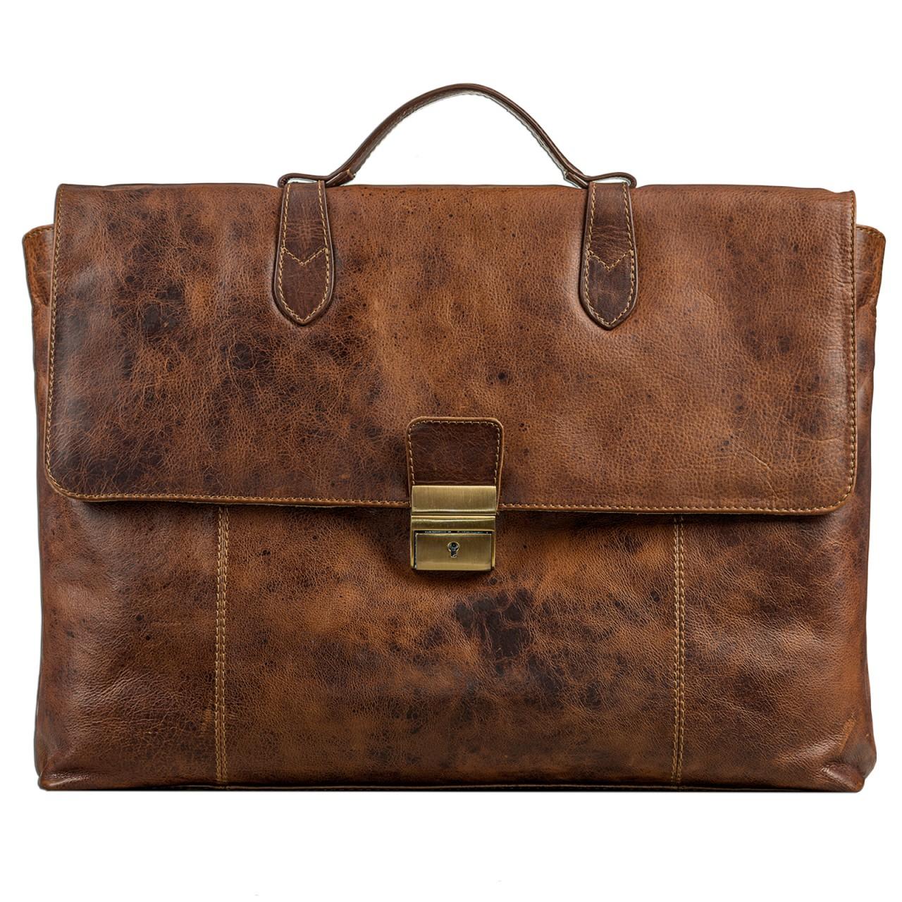 STILORD Vintage Businesstasche aus echtem Leder elegante Arbeitstasche Aktentasche Lehrertasche mit Schloss Rinds Leder Braun - Bild 2