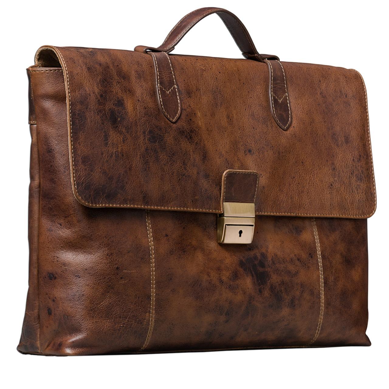 STILORD Vintage Businesstasche aus echtem Leder elegante Arbeitstasche Aktentasche Lehrertasche mit Schloss Rinds Leder Braun - Bild 1