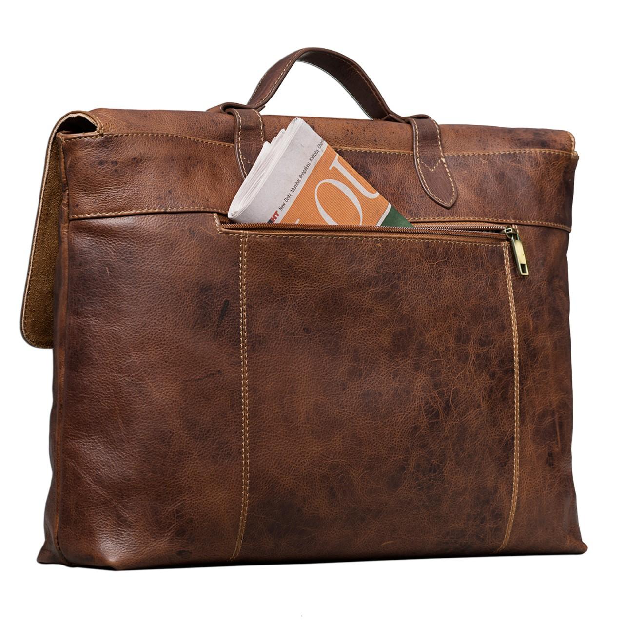 STILORD Vintage Businesstasche aus echtem Leder elegante Arbeitstasche Aktentasche Lehrertasche mit Schloss Rinds Leder Braun - Bild 6