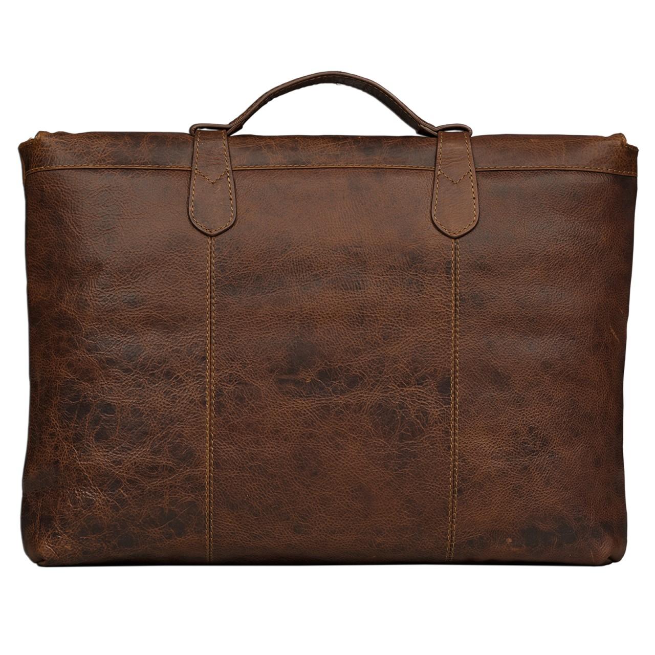 STILORD kleine Vintage Aktentasche elegante Businesstasche aus echtem Leder mit Schloss Rinds Leder Braun - Bild 3