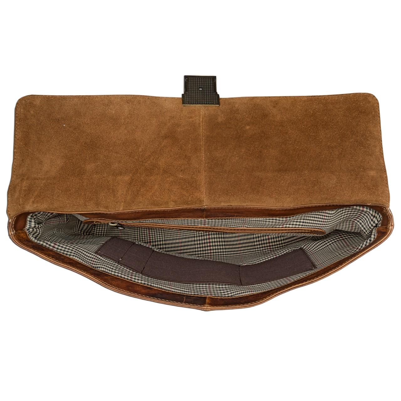 STILORD kleine Vintage Aktentasche elegante Businesstasche aus echtem Leder mit Schloss Rinds Leder Braun - Bild 4