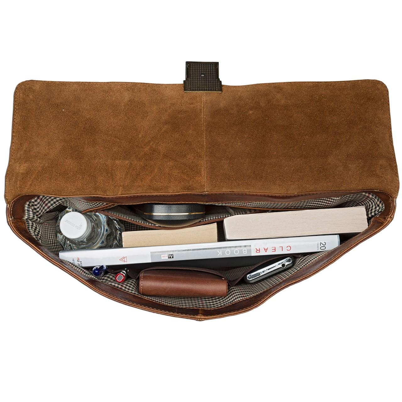 STILORD kleine Vintage Aktentasche elegante Businesstasche aus echtem Leder mit Schloss Rinds Leder Braun - Bild 5