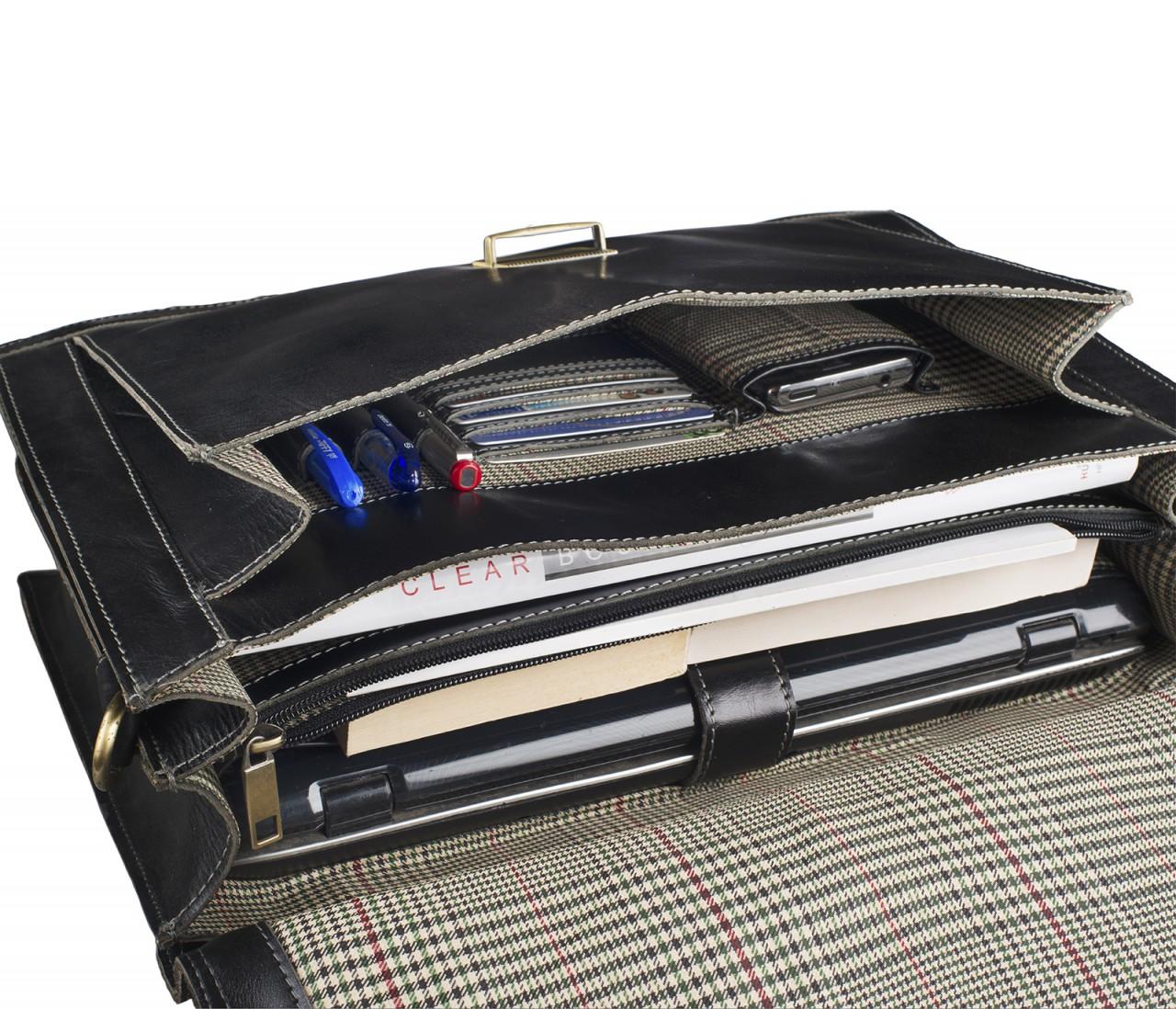 STILORD Vintage Bürotasche Businesstasche elegant aus echtem Leder mit Schloss und Laptop Fach Rinds Leder Schwarz - Bild 6