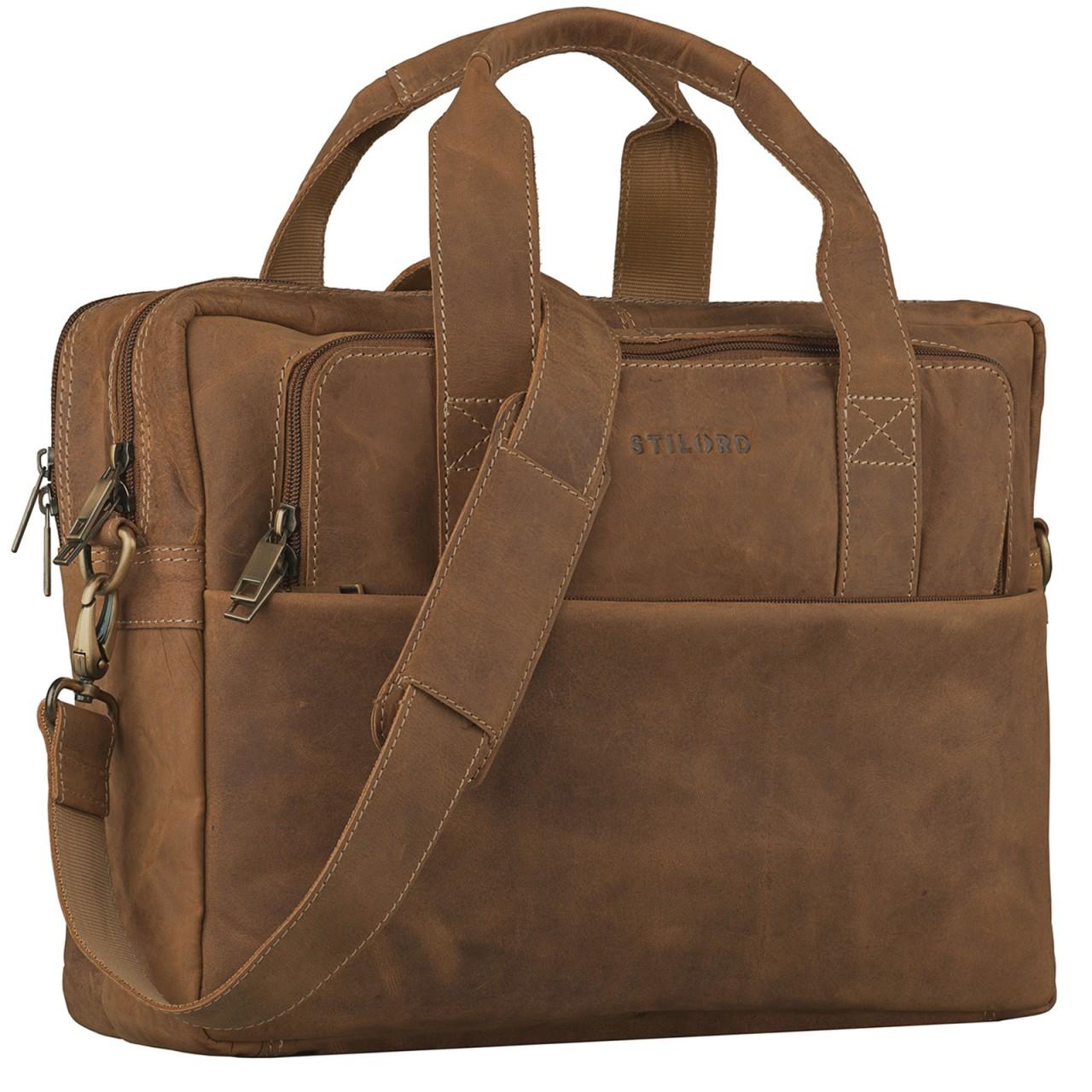 STILORD Vintage Herren Umhängetasche Leder groß Ledertasche Büro Business Studium Uni Lehrertasche Tabletfach 12 Zoll echtes Rinds Leder Braun - Bild 1