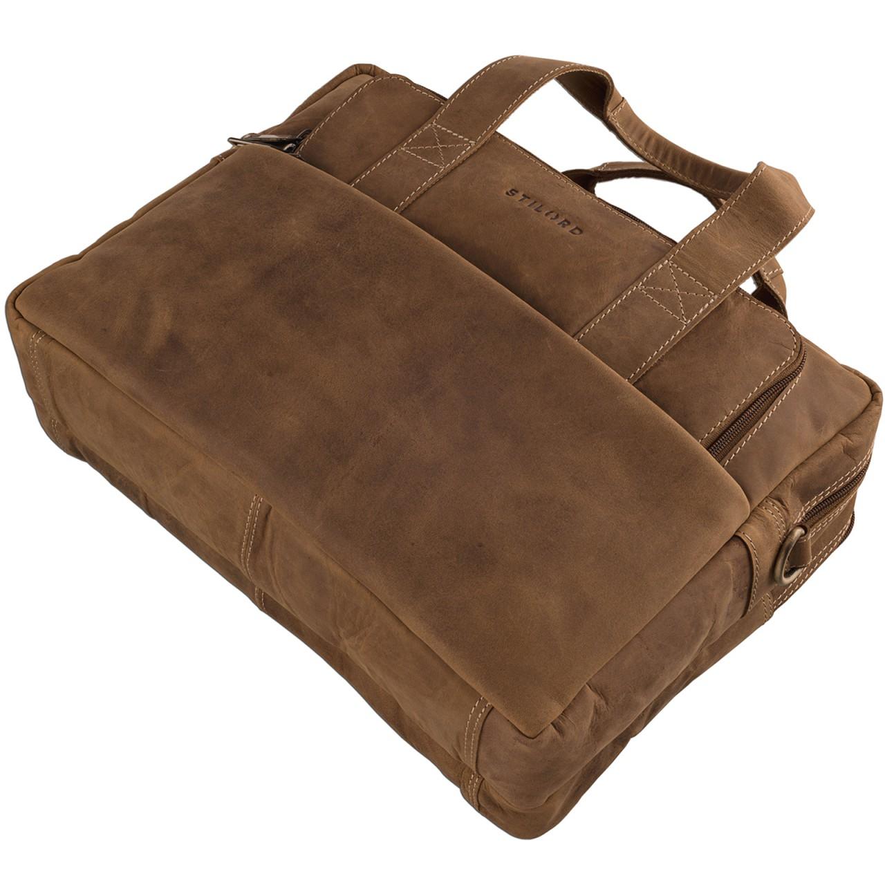 STILORD Vintage Herren Umhängetasche Leder groß Ledertasche Büro Business Studium Uni Lehrertasche Tabletfach 12 Zoll echtes Rinds Leder Braun - Bild 3