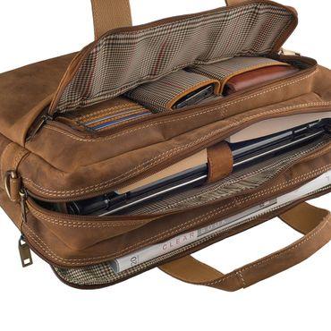 STILORD Vintage Herren Umhängetasche Leder groß Ledertasche Büro Business Studium Uni Lehrertasche Tabletfach 12 Zoll echtes Rinds Leder Braun – Bild 8