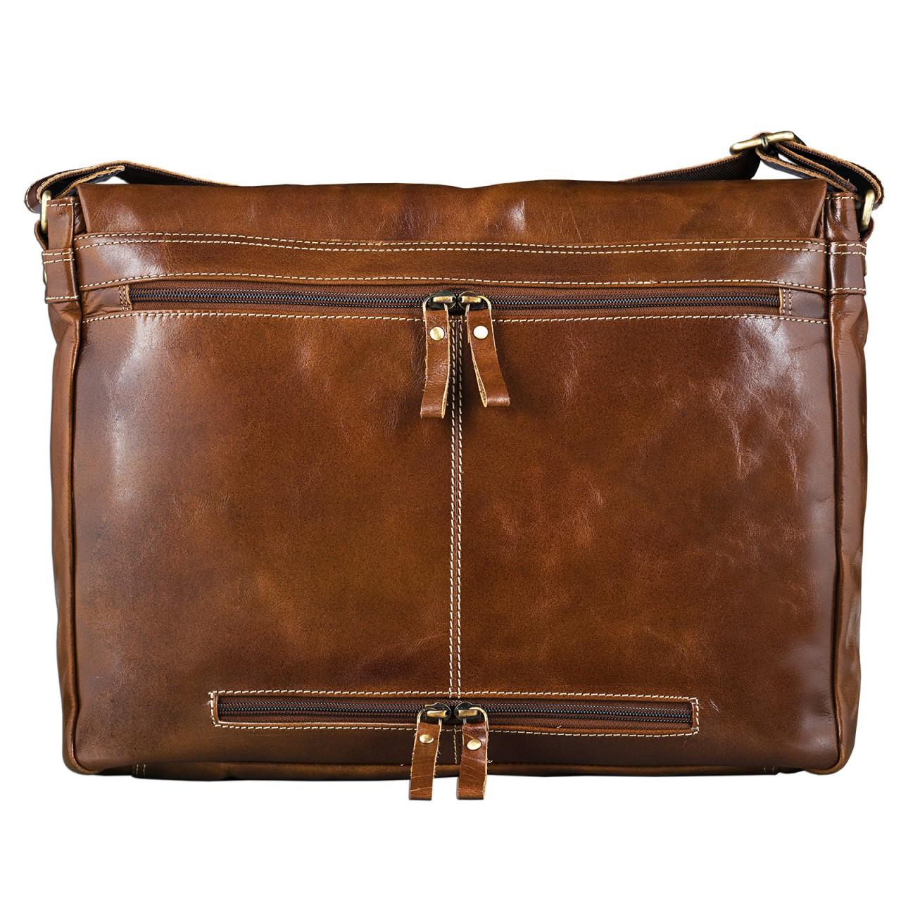 STILORD Messenger Bag Leder Umhängetasche Unisex Aktentasche Bürotasche aufsteckbar Vintage Retro Rinds-Leder braun - Bild 4