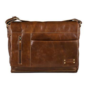 STILORD Messenger Bag Leder Umhängetasche Unisex Aktentasche Bürotasche aufsteckbar Vintage Retro Rinds-Leder braun – Bild 3